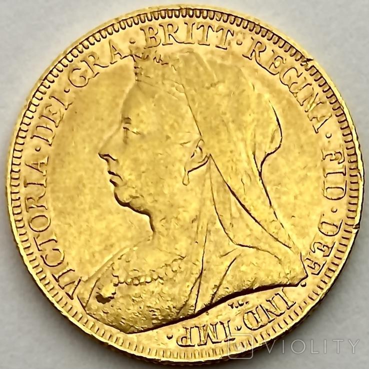 1 фунт (соверен). 1894. Виктория I. Великобритания (золото 917, вес 7,97 г), фото №4