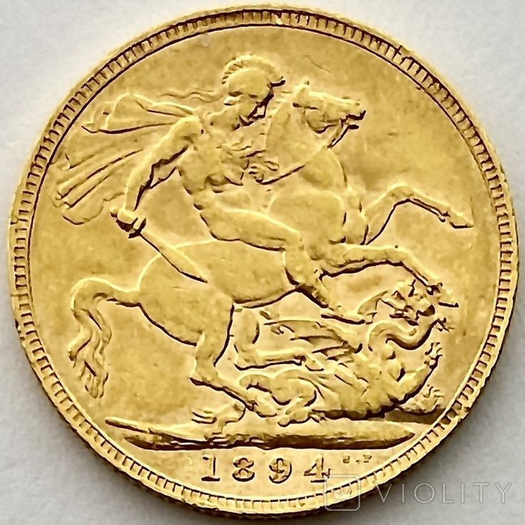 1 фунт (соверен). 1894. Виктория I. Великобритания (золото 917, вес 7,97 г), фото №5