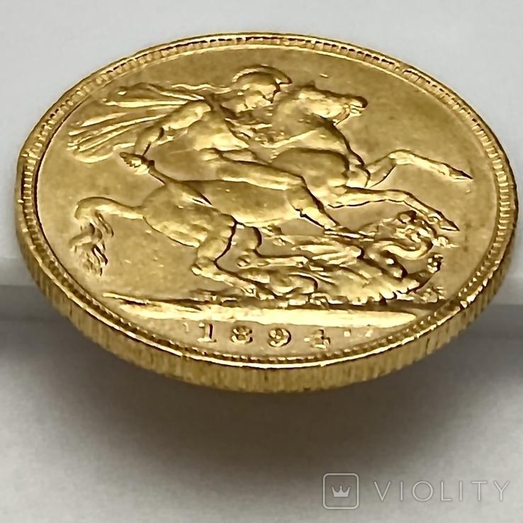 1 фунт (соверен). 1894. Виктория I. Великобритания (золото 917, вес 7,97 г), фото №6