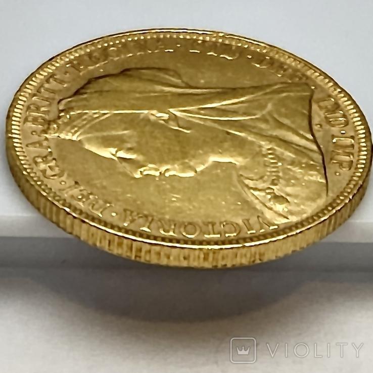1 фунт (соверен). 1894. Виктория I. Великобритания (золото 917, вес 7,97 г), фото №8