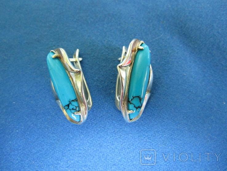 Набор кольцо и серьги серебро,золото,бирюза., фото №3