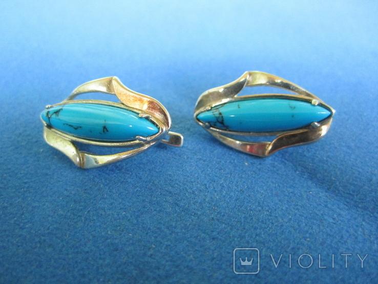 Набор кольцо и серьги серебро,золото,бирюза., фото №4