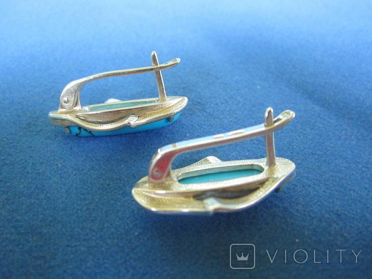 Набор кольцо и серьги серебро,золото,бирюза., фото №5