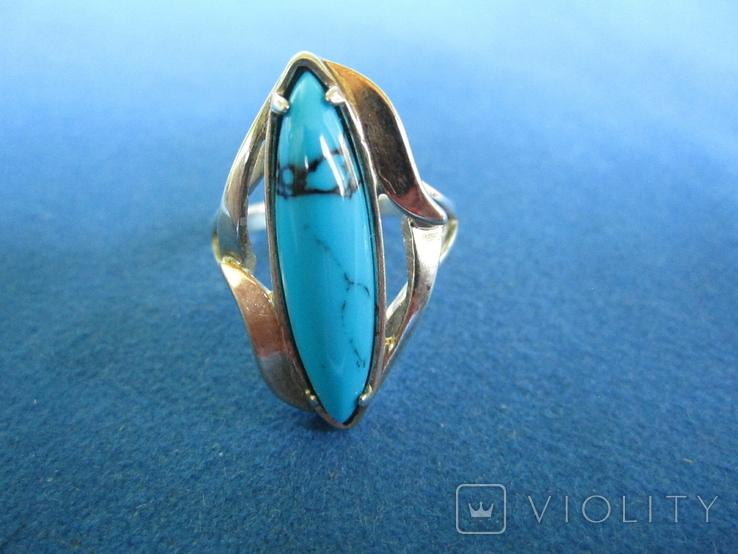 Набор кольцо и серьги серебро,золото,бирюза., фото №7