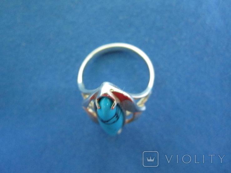 Набор кольцо и серьги серебро,золото,бирюза., фото №8