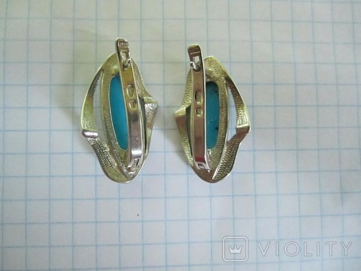 Набор кольцо и серьги серебро,золото,бирюза., фото №13