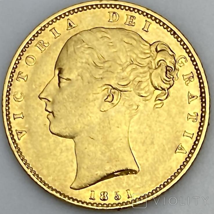 1 фунт (соверен). 1851. Великобритания (золото 917, вес 7,96 г), фото №3