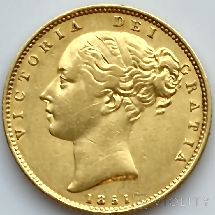 1 фунт (соверен). 1851. Великобритания (золото 917, вес 7,96 г), фото №5