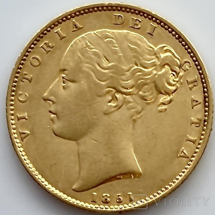 1 фунт (соверен). 1851. Великобритания (золото 917, вес 7,96 г), фото №2