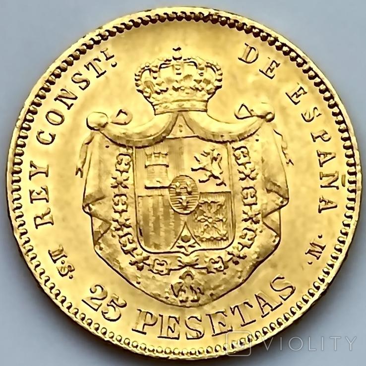 25 песет. 1880. Альфонсо XII. Испания (золото 900, вес 8,09 г), фото №3