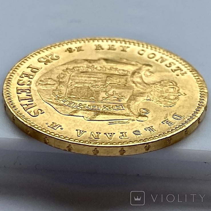 25 песет. 1880. Альфонсо XII. Испания (золото 900, вес 8,09 г), фото №6