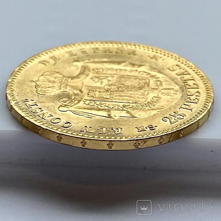25 песет. 1880. Альфонсо XII. Испания (золото 900, вес 8,09 г), фото №7