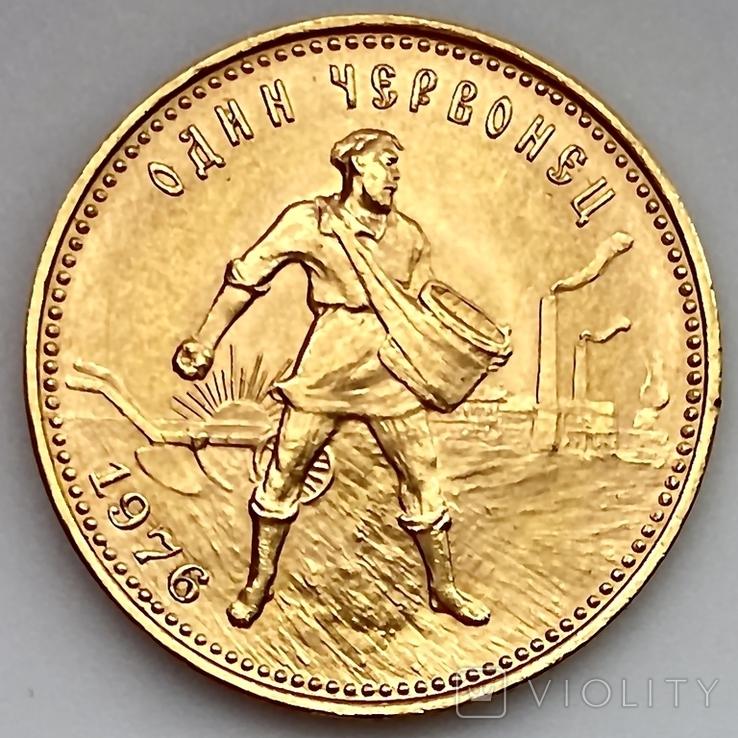 Один Червонец Сеятель. 1976. РСФСР (золото 900, вес 8,63 г), фото №2