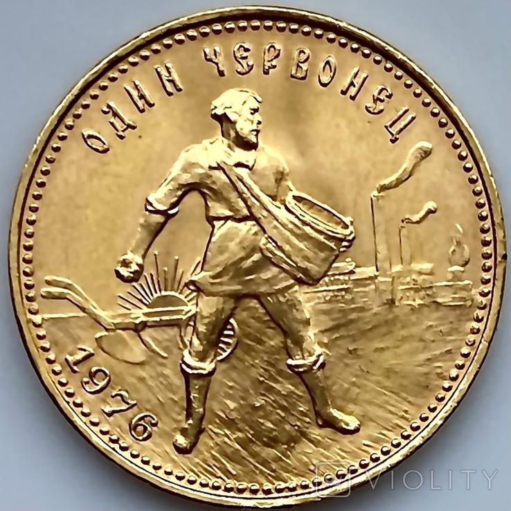 Один Червонец Сеятель. 1976. РСФСР (золото 900, вес 8,63 г), фото №12