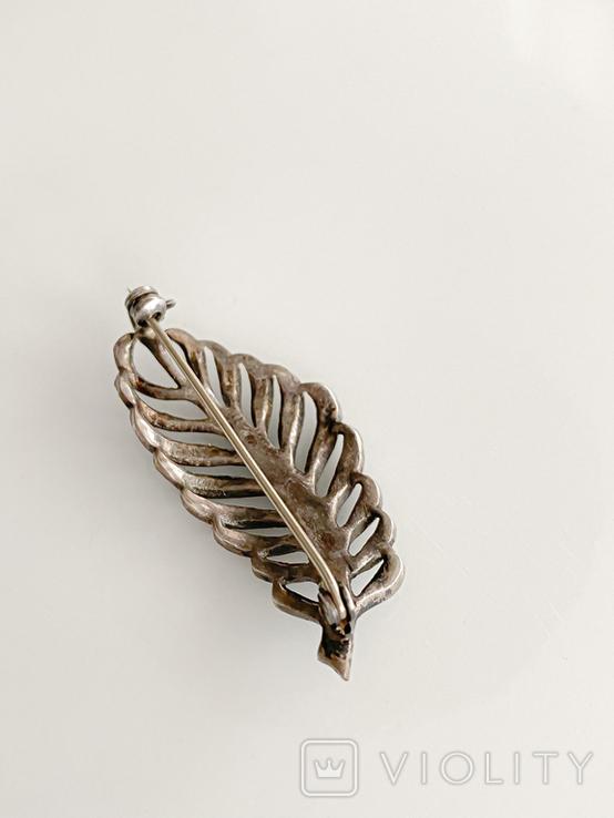 Брошь из капельного серебра с марказитамы., фото №11