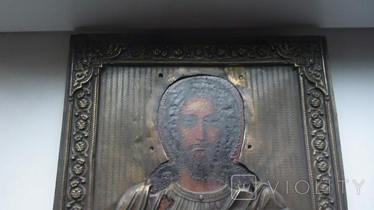 Икона в латунном окладе. Господь Вседержитель. . 22 см х 27 см. Россоя., фото №3