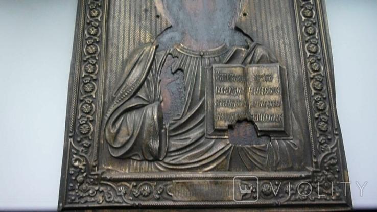 Икона в латунном окладе. Господь Вседержитель. . 22 см х 27 см. Россоя., фото №4