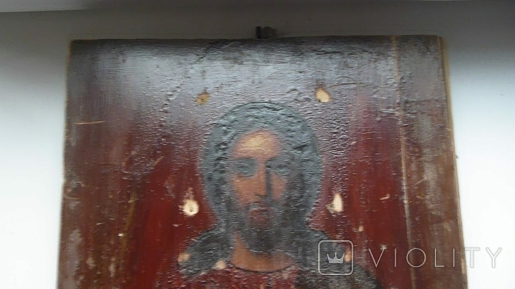 Икона в латунном окладе. Господь Вседержитель. . 22 см х 27 см. Россоя., фото №11