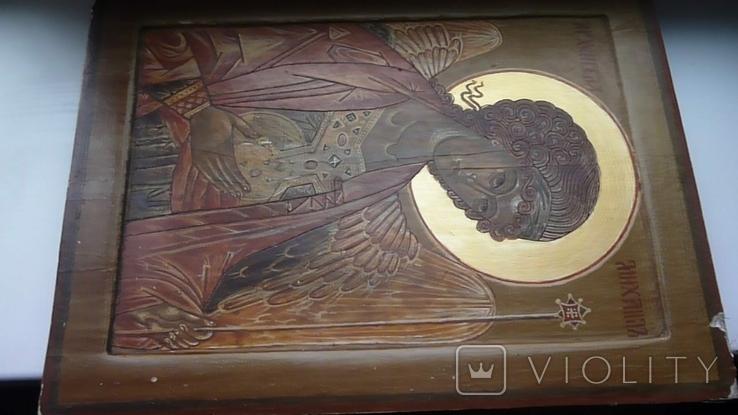 Икона Архангел Михаил Ковчег. Школьное письмо. 30 см х 40 см., фото №6