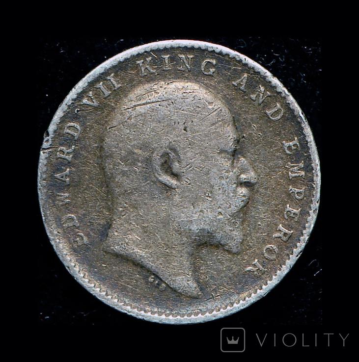 Британская Индия 2 анны 1906 серебро, фото №2