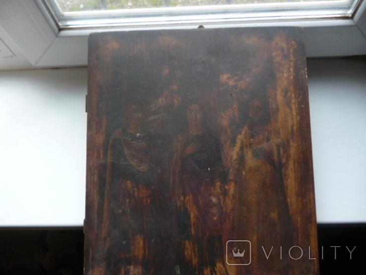 Икона Три Святых. 31 см х 38 см., фото №9