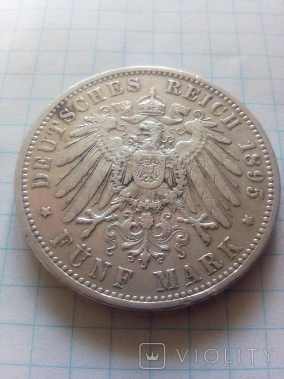 5 марок 1895 Прусія, фото №4