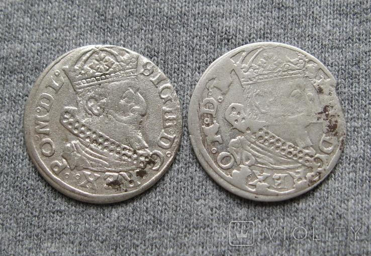 Литовские гроши 1627 года. Сиг. ІІІ Ваза ( 2 штуки)., фото №2