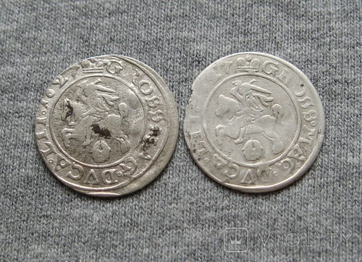 Литовские гроши 1627 года. Сиг. ІІІ Ваза ( 2 штуки)., фото №5