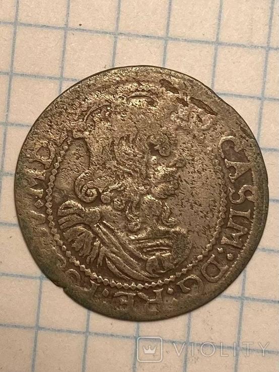 6 грошей Ян Казимир Ваза 1663, фото №2