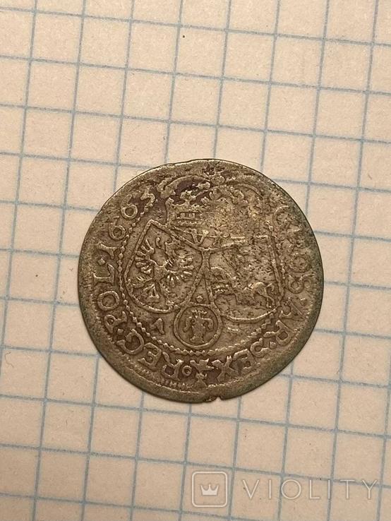 6 грошей Ян Казимир Ваза 1663, фото №3