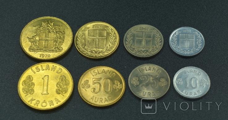 Исландия, набор монет 1970-х годов, фото №2