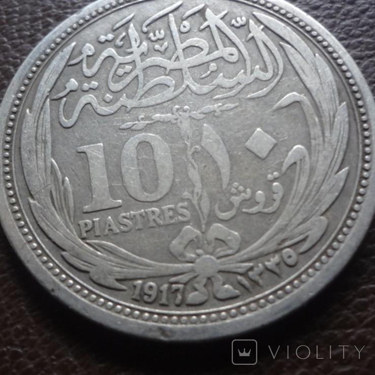 10 пиастров 1917 Египет ( Великобританский) серебро (7.8.5), фото №3