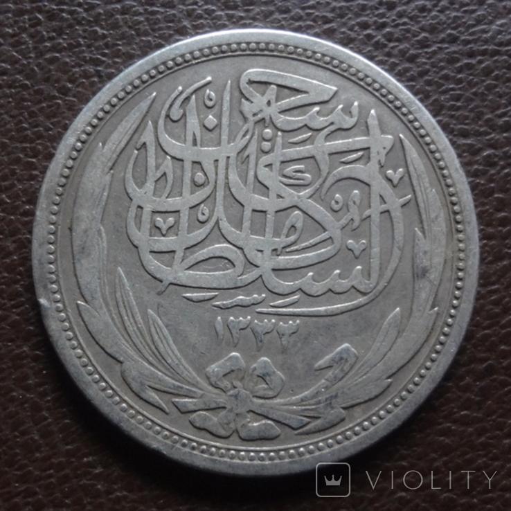 10 пиастров 1917 Египет ( Великобританский) серебро (7.8.5), фото №4