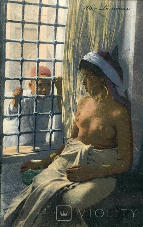 Обнаженная красавица за решеткой в гареме. Ню, эротика. 1900-1910-е гг., фото №2