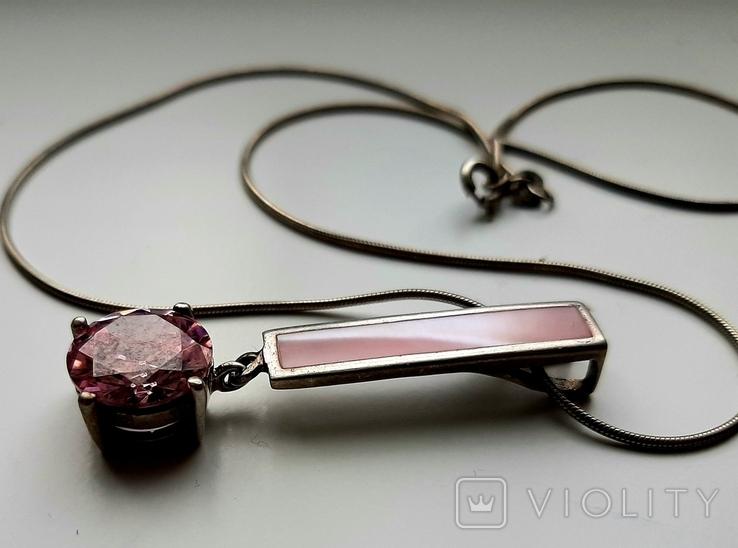 Кулон с цепочкой серебро 925, фото №3