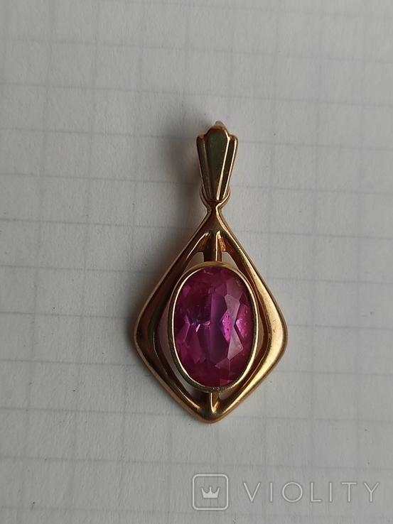 Кулон с камнем золото 585 СССР (звезда), фото №3