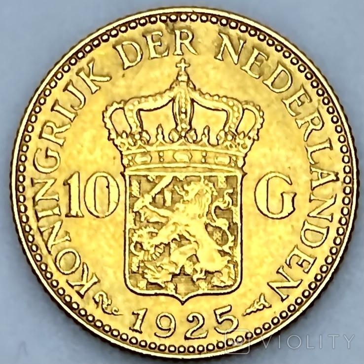 10 гульденов. 1925. Королева Вильгельмина. Нидерланды (золото 900, вес 6,70 г), фото №3