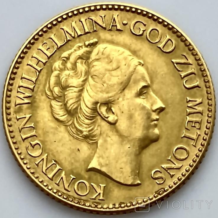 10 гульденов. 1925. Королева Вильгельмина. Нидерланды (золото 900, вес 6,70 г), фото №4