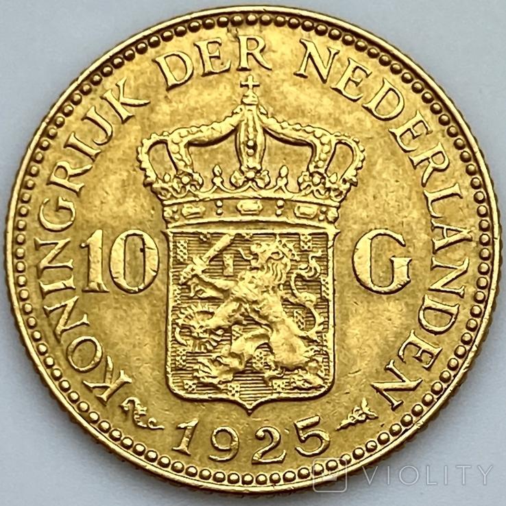 10 гульденов. 1925. Королева Вильгельмина. Нидерланды (золото 900, вес 6,70 г), фото №5