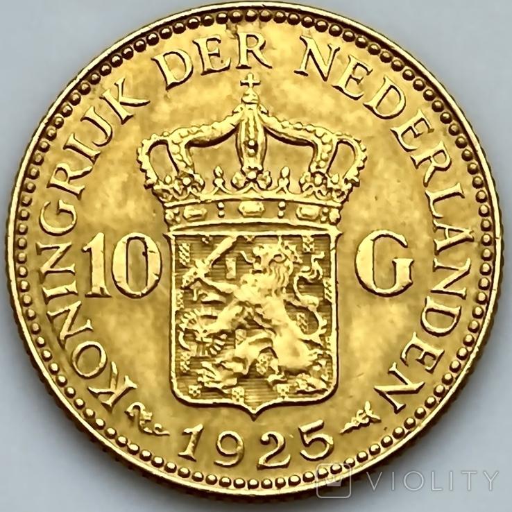 10 гульденов. 1925. Королева Вильгельмина. Нидерланды (золото 900, вес 6,70 г), фото №7