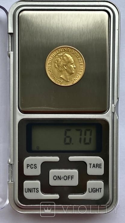 10 гульденов. 1925. Королева Вильгельмина. Нидерланды (золото 900, вес 6,70 г), фото №12