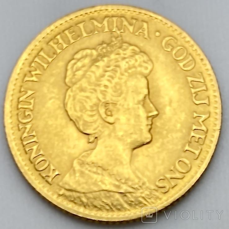 10 гульденов. 1913. Королева Вильгельмина. Нидерланды (золото 900, вес 6,71 г), фото №3