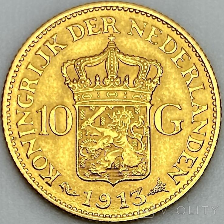 10 гульденов. 1913. Королева Вильгельмина. Нидерланды (золото 900, вес 6,71 г), фото №4