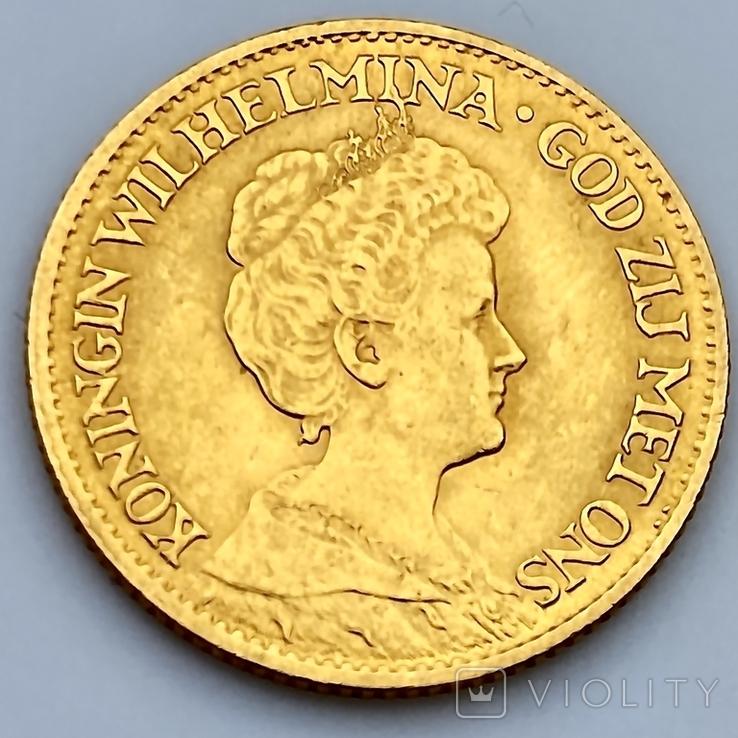 10 гульденов. 1913. Королева Вильгельмина. Нидерланды (золото 900, вес 6,71 г), фото №2