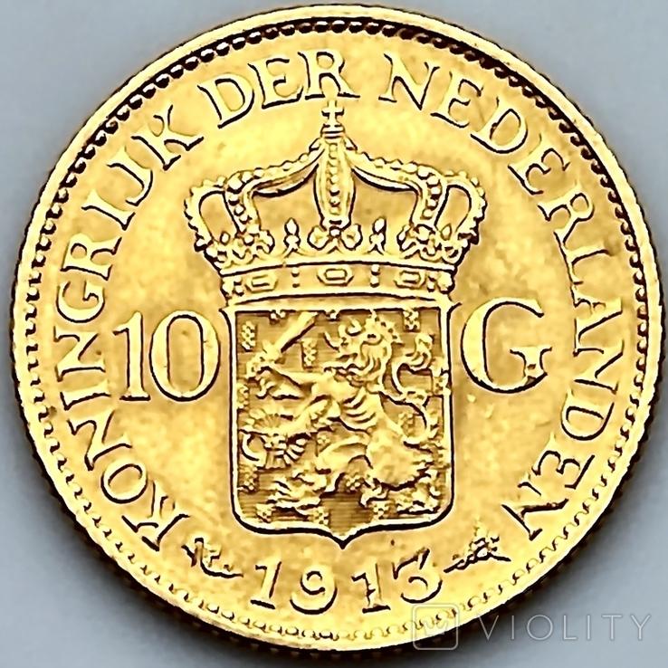 10 гульденов. 1913. Королева Вильгельмина. Нидерланды (золото 900, вес 6,71 г), фото №6