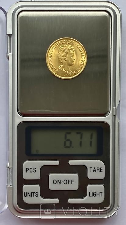 10 гульденов. 1913. Королева Вильгельмина. Нидерланды (золото 900, вес 6,71 г), фото №7