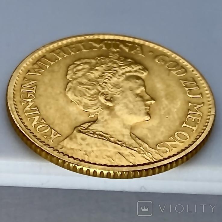 10 гульденов. 1913. Королева Вильгельмина. Нидерланды (золото 900, вес 6,71 г), фото №8
