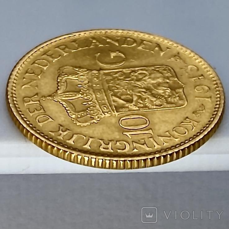 10 гульденов. 1913. Королева Вильгельмина. Нидерланды (золото 900, вес 6,71 г), фото №11