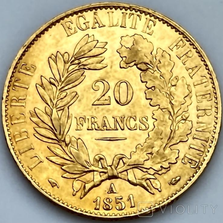 20 франков. 1851. Республика. Франция (золото 900, вес 6,45 г), фото №4