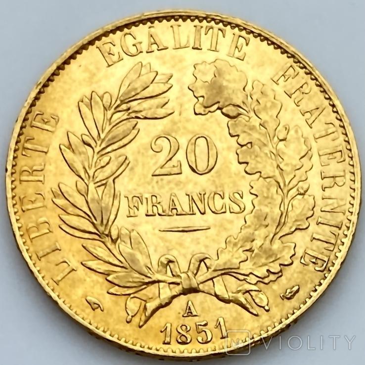 20 франков. 1851. Республика. Франция (золото 900, вес 6,45 г), фото №6